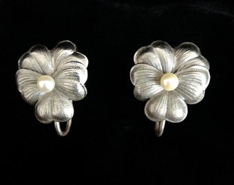 Vintage Harry S. Bick Sterling Silver and Pearl Pansy Earrings, Screwback, HSB