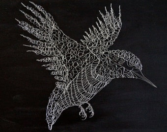 A Sculptural Wire Drawing of a Kingfisher