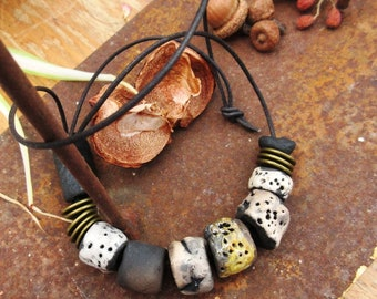 The Morning Poetry: a mid-length and spring necklace with raku ceramics ....