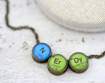Nerd Periodic Table, Nerdy Periodic Table Necklace, Periodic Table, N Er Dy, Nerdy Necklace, Periodic Table Necklace, Chemistry Necklace