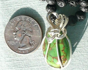 Sterling Silver Wire Wrapped Green Turquoise Necklace