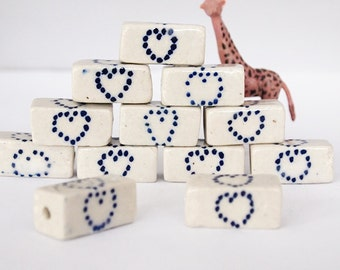 1 Large Ceramic Clay Rectangle Bead Hand Painted Heart Dots Size 27 x 13mm Large Hole