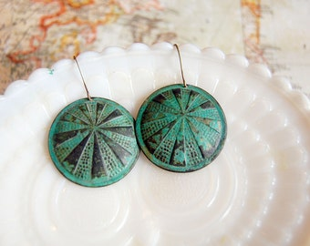 sunburst round verdigris brass dangle earrings - vintage inspired
