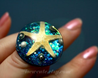 Beach Jewelry Ring, Mermaid Ring, Starfish Ring, Blue Glitter & Pearl Ring, Beach Ocean Jewelry Real Seashell Ring - Summer Jewlery
