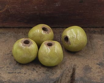 Stoneware Ceramic Beads Chartreuse Green Brown Pottery Beads