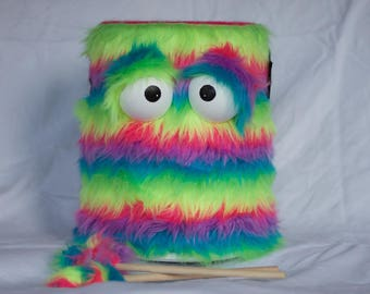Kids Drum - Shaggy Rainbow Stripes Handmade Eco-Friendly Durable Fun Coolest Marching Puppet Drum For Kids 'BOOM BUDDY'