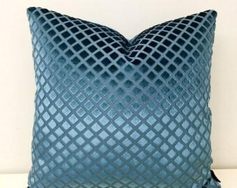 Robert Allen Teal Blue Velvet Throw Pillow, Velvet Pillow Cover, Luxury Pillows, Decorative Pillow, Velvet Cushion Case,Velvet Pillow Covers