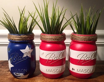 American flag jars, Fourth of July jars, red, white and blue jars