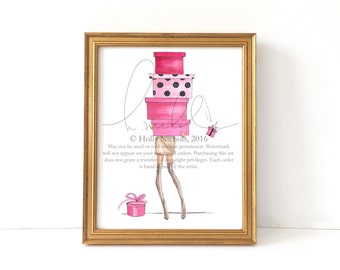 Over the Knee and Over my Head (Fashion Illustration Print)