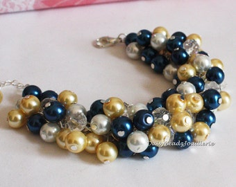 Bridesmaid Bracelet Navy Bracelet Navy and Yellow Bracelet Bridesmaid Gift for Her Mother of Bride Gift Mother of Groom Gift
