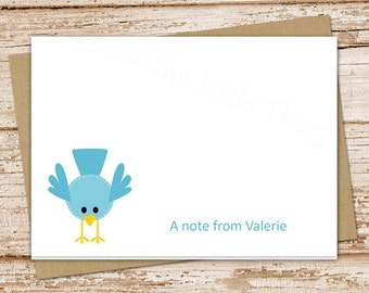 personalized note cards . bird notecards . bluebird . folded personalized stationery stationary . blank cards . set of 8