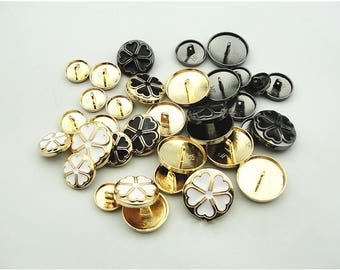 6 Pcs 0.59~0.98 Inches Gold/Gun/Black/White 4 Hearts Flower Metal Shank Buttons For Suits Coats
