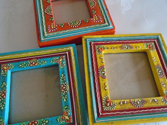 multi coloured set of 3 hand painted barge ware style frames.