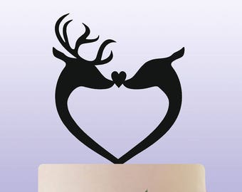 Deer Stag and Doe Bride and Groom Acrylic Wedding Cake Topper Decoration & Keepsake