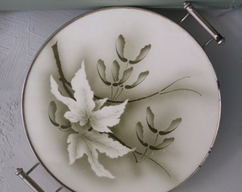 Antique Cake plate with green decoration