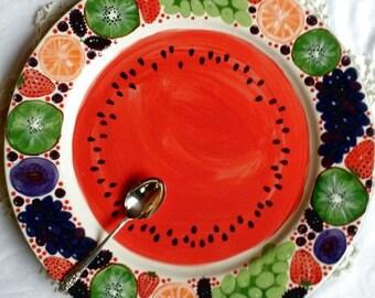 "Large 16"" Strawberry platter Peace flower platter fruit plate colorful watermelon happy color peace platter dish peace sign space platter"