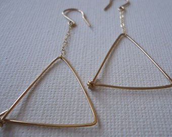 Triangle Dangle Earrings in 14 Karat Gold Filled