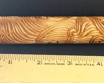 MOVEMENT  embossed Texture Wood Roller Tile Stamp for Clays  BHR61