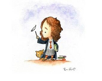 Hermione Practices Her Spells Watercolor Print