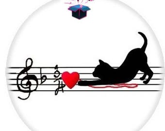 1 cabochon clear 18 mm cat themed music