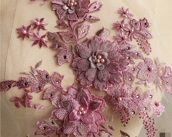 Dust Pink 3D Beaded Pearl Floral Lace Appliques Delicate Wedding Trim Embroidery Tulle Collar Wedding Bodice Veil Accessories S0692