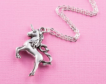 Unicorn necklace, long chain, long unicorn necklace, unicorn jewelry, unicorn gift, gift for her, teenager gift idea, large unicorn pendant