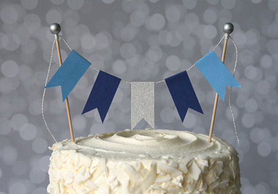 Hanukkah Blue & Silver Cake Bunting Pennant Flag Cake Topper Many Colors To Choose From Birthday, Wedding by Etsy