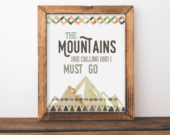 Boys Tribal Nursery Wall Art - The Mountains Are Calling - Baby Boy Shower Gift