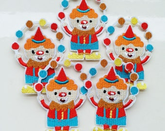 5x7.2cm 10pcs Circus Clown patches Juggling Balls Iron On Sew On Cloth Embroidered Patches Appliques Machine Embroidery Needlecraft Project