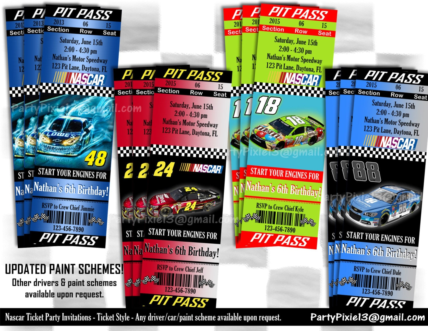 Nascar Ticket Party Invitation Ticket Style Pit Pass
