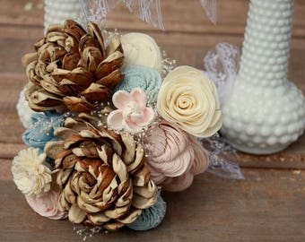 Wooden flower bouquet, blush pink and rustic blue wedding bouquet, sola flower bouquet, ecoflower bridal bouquet, bridesmaid, keepsake