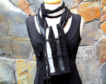 Nuno felt scarf, abstract line design in white, gray, and black
