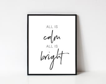 Christmas Wall Art, Holiday Wall Art, All Is Calm and Bright, Christmas Decor, Holiday Decor, Printable Wall Art, INSTANT DOWNLOAD