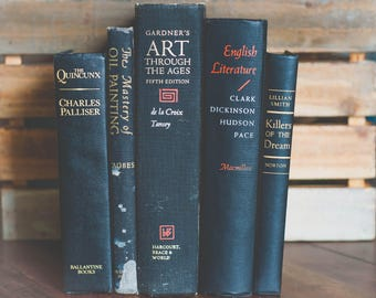 Vintage Black Decorative Books Instant Library Collection Decorating Book Photography Props Home Staging Table Decor Decoration Gold Red Old