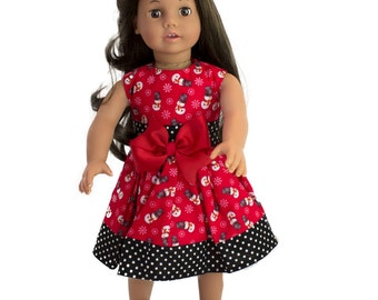Doll dress Christmas doll dress 18 inch doll dress such as American Girl 18 inch doll clothes doll dress Christmas doll dress