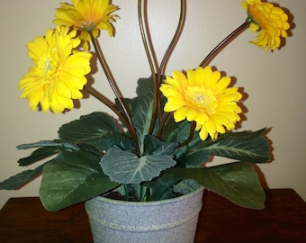 Yellow Gerber Daisy Silk Flower Arrangement
