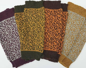 Knitted Leopard Print Leg Warmers made from cozy Shetland wool - sustainable, purple, yoga, dancewear, autumn, gift for mum, mothers day
