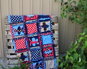 Airplane Quilt Baby Boy Bedding- Red / Blue / Navy Aviator Crib Bedding - Travel Nursery Adventure Blanket - Rustic Boy Nursery Rag Quilt
