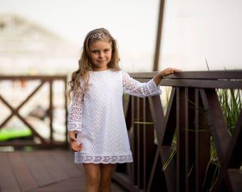 Flower girl dress, Lace flower girl dress, Boho flower girl dress, White lace dress, White girl dress, Christening dress, Birthday dress