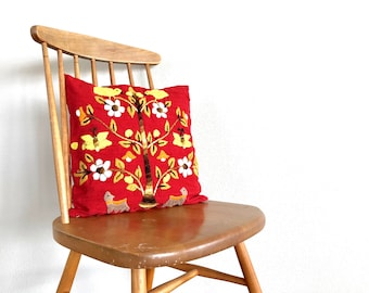 Vintage Pillow | Floral Crewel Embroidered Throw Pillow | Red Linen Decorative Pillow | Home Decor