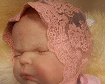 Reborn/Newborn Baby  bonnet in peach  lace for reborn dolls clothes baby homecoming  Cake smash Photo prop Silicone reborn baby doll