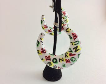 Vintage Alphabet Crescent Earrings