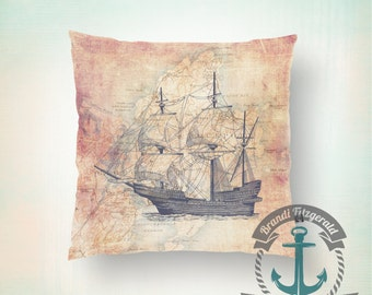Throw Pillow | Clipper Ship | Vintage Map Rockport, Mass Nautical Mariner  | Size and Price via Dropdown