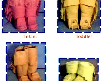 Kid's Yaqui Indian Moccasin Sewing Pattern Infant, Toddler & Child's sizes 8-10-12 Native American