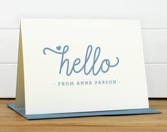 Stationery - HELLO Personalized Stationery Set - Personalized Stationary Set - Custom Personalized Notecard Set - Cute Pretty Birthday Gift