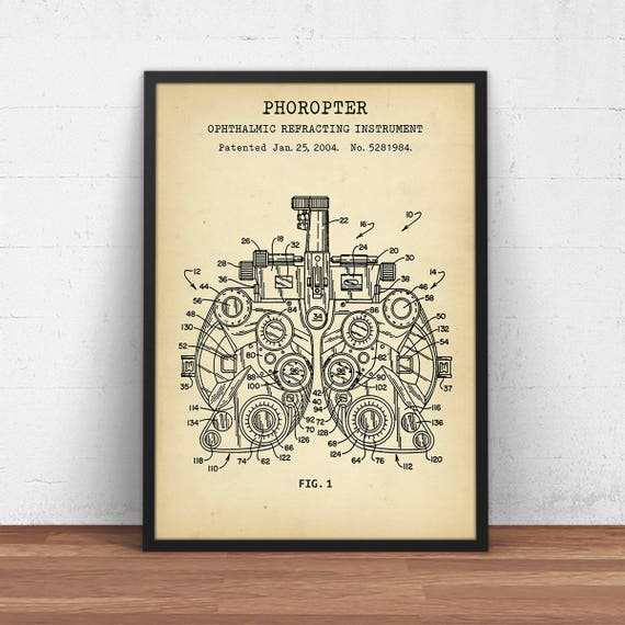 Phoropter patent print digital download blueprint art malvernweather Image collections