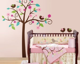 Tree and Birds Wall Decal, Birds with Tree Wall Decal, Tree and Birds Sticker, Whimsical Flower Tree with Love Birds Nursery Wall Decal