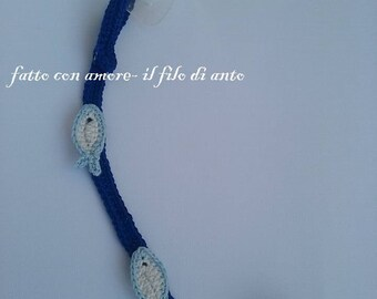 Ch blue pacifier holder with minnows
