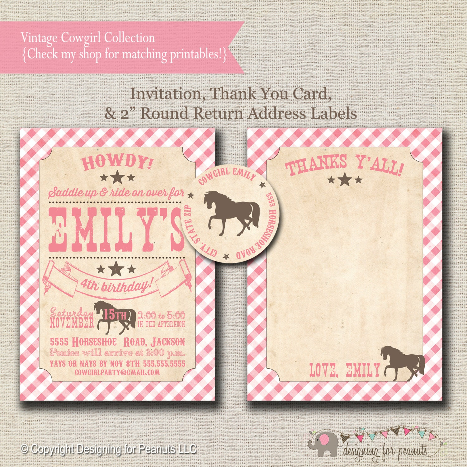 Party Invitation Thank You Card Return Address Labels