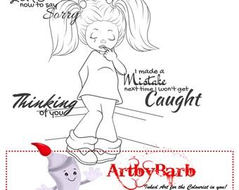 So Sorry,  cute line art, digital stamp, clip art, wordart, sentiments, to colour, to craft, greeting card, crafty make, cute digi